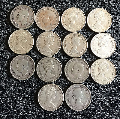 Lot of 14 Canada Silver Quarters 25c Coins Mixed Dates
