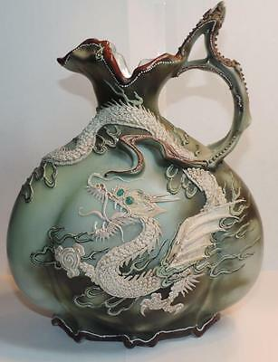 Vintage Antique Nippon Moriage DRAGON with WING EWER Good Detail No Res OLD
