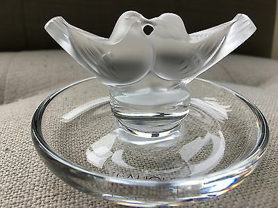 "Lalique 2 Colombes Cendrier Ashtray ""Love Birds Doves"" Ring Dish Brand New w Box"