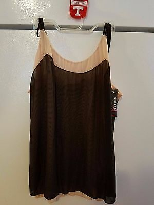 Womens Ladies Black Taupe Spaghetti Strap Lined Camisole Top Size Large