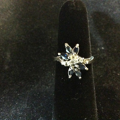 Vintage 14K White Gold Diamond And Sapphire Ring Size 4.75