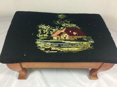 Vintage Embroidered Top Wood Foot Stool NeedlePoint Black With House