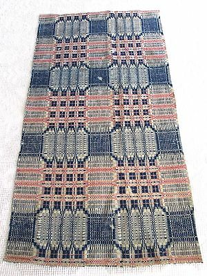 1800's Antique Woven  Pink & Indigo Blue Coverlet  Piece 21.5 by 40""