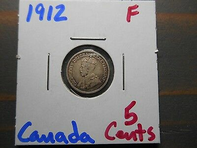 1912 5 Cent Canada  .925 silver - .0346 ASW