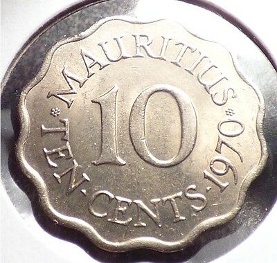 Mauritius 10 Cents 1970, XF+ Coin, British Crown Colony Issue, KM 33