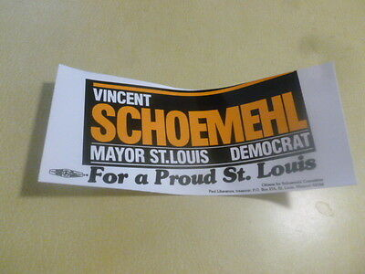 St. Louis Mayor Vincent Schoemehl Campaign Democrat Bumper Sticker 1981