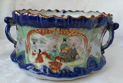 Antique Chinese  or Japanese Porcelain Planter Hand Painted Doble Handles Marked