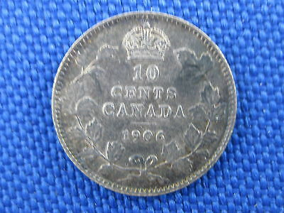 1906 Canada Silver King Edward Vii 10 Cent Coin