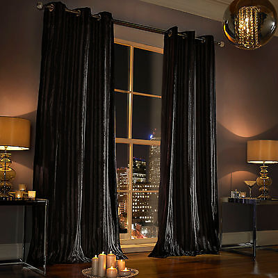 "Iliana Black Eyelet Lined Curtains 66""x54"" (168x137cm) Pair by Kylie Minogue"