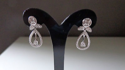 14K White Gold Earrings With Genuine Diamonds - New