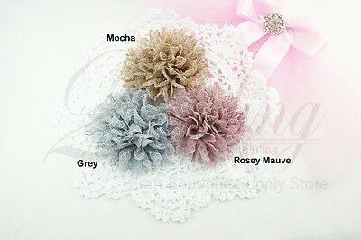 "3 MIX PACK Textured Scalloped"" fabric flowers, DIY Embellishment craft sewing"