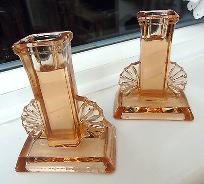 Pair of 1930s Art Deco Amber/Pink Pressed Glass Candlesticks