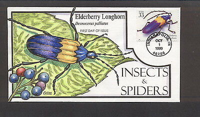 Insects & Spiders FDC, HP Collins, Elderberry Longhorn, 3351