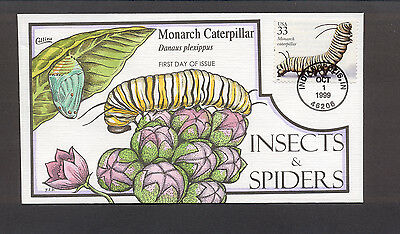 Insects & Spiders FDC, HP Collins, Monarch Caterpillar, 3351