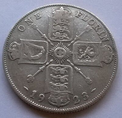 1923 George V Silver Florin Coin