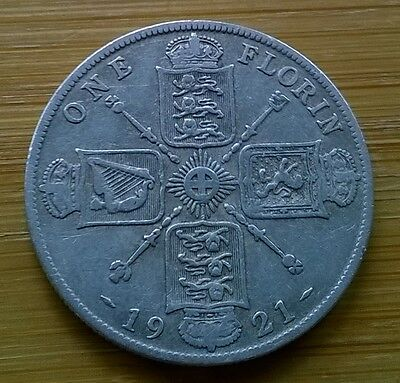 1921 George V Silver Florin Coin