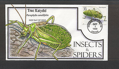 Insects & Spiders FDC, HP Collins, True Katydid, 3351
