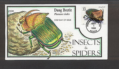 Insects & Spiders FDC, HP Collins, Dung Beetle, 3351