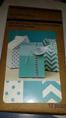 Recollections PAPER MILK CARTONS Set of 12 BLUE SOLID COLOR,POLKA DOT,CHEVRON