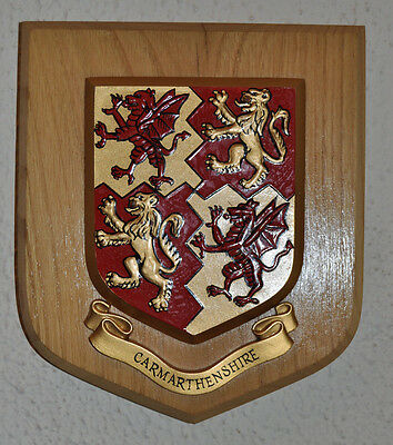 Carmarthenshire wall plaque shield crest coat of arms