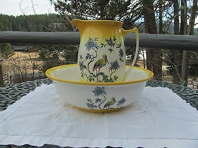 Antique vtg wash basin & Pitcher with fabulos crane & flowers Wonderful