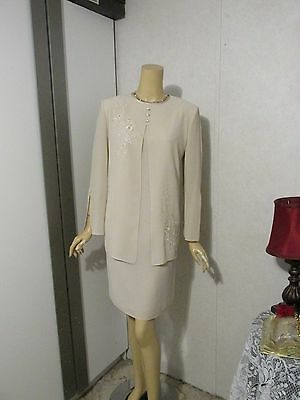 Mother Of The Bride Dress by Karen Stevens-Size 12 Petite-Beige Beaded Illusion