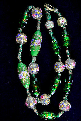 Gorgeous Antique Lampwork And Foil Glass Bead Necklace