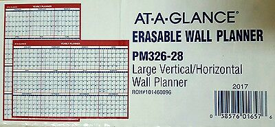 AT-A-GLANCE Erasable Vertical/Horizontal Wall Planner, 32 x 48, Blue/Red, 2017