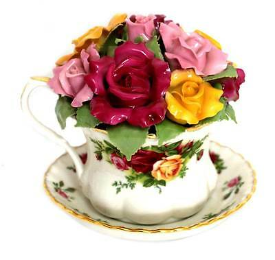 Vintage Royal Albert Old Country Roses musical teacup centrepiece 3D roses