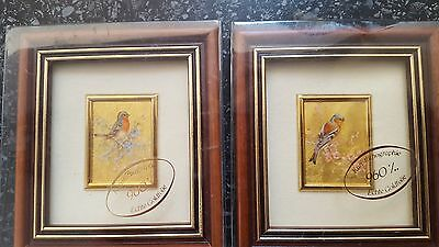 2 miniature framed pictures in 23ct gold leaf