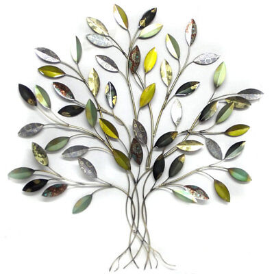 Tree of Life Metal Wall Art Hanging Iron Sculpture Garden Ornament Leaves 92cm