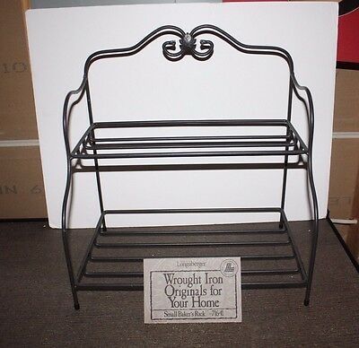 Longaberger Small Foundry Wrought Iron Bakers Rack Black 2-Tier Stand