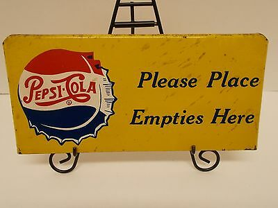 "Vtg Pepsi~Cola Pressed-Metal ""Please Place Empties Here"" Sign w/ Bottle Cap Logo"