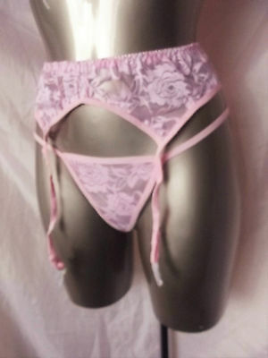 New Baby Pink Stretchy Lace Suspender Belt With Laced Thong Size Med Large