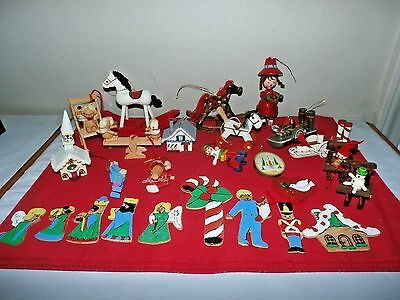 Lot of  Vintage Wooden Christmas Ornaments 3 Kurt Adler