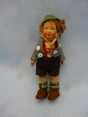 "10"" German Bing Bros Boy Cloth & Bisque Doll, Sweater Outfit"