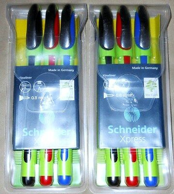 6 Schneider Xpress Fineliner .8mm Point Assorted Ink Pens (2 Pks of 3) 190093