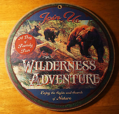 WILDERNESS ADVENTURE BEAR & CUBS Rustic Lodge Log Cabin Home Decor SIGN NEW