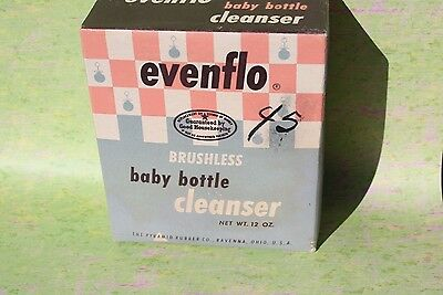Vintage 1960's EVENFLO Baby Bottle Cleanser, 12 oz. NOS Advertising Box