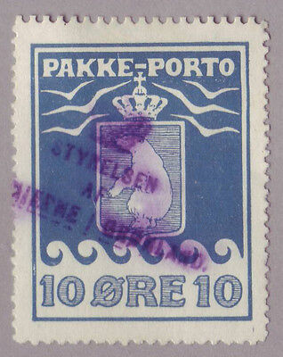 Greenland Pakke-Porto -  Scott # Q4a / Facit P3 used,  reperforated 11.5 at top