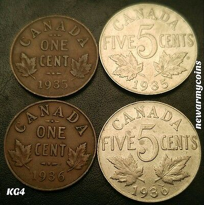 OLD VINTAGE CANADA CANADIAN KING GEORGE V SMALL CENT / 5 CENT LOT newarmycoins