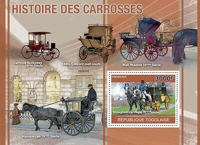 History of Horse Carriages horses transport Togo 2010 s/s Mi. Bl. 550 #TG10411b