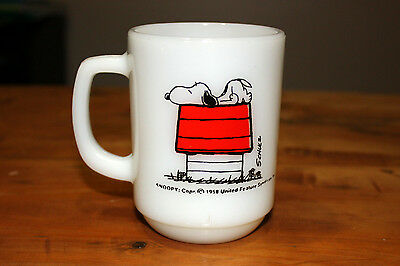 Vintage 1958 FIRE KING SNOOPY Mug - ALLERGIC TO MORNING - Exc