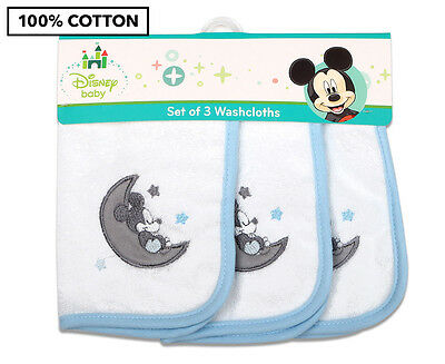 Disney Baby Mickey Mouse Wash Cloths 3-Pack - Blue
