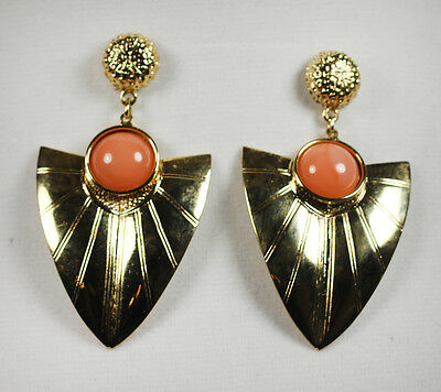 Vintage Gold Shield CORAL CABOCHON DANGLE EARRINGS STUDS