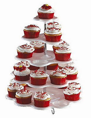 5 Tiered Tower White Cupcake Holder Stand - NEW - FREE SHIPPING