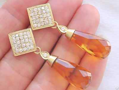 ESTATE 1.10ctw BRILLIANT DIAMOND 14ctw CITRINE DROP 18K COCKTAIL DANGLE EARRINGS