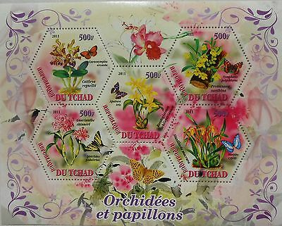 Orchids & Butterflies s/s hexagon shape stamps Tchad 2011 MNH #tchad2011-39