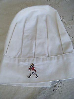 Vintage Chef Hat With Johnnie Walker Patch On Front White Cotton