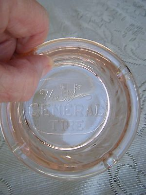 The General Tire Company Ashtray Vintage Marked Pink Glass Very Nice Condition